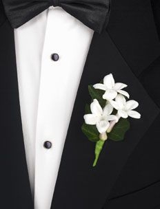 boutonnieres = white stephanotis w/ bling center pins