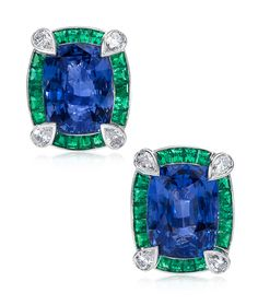 Sapphire and Emerald Earrings