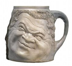 Martin Brothers Pottery - Double Face Mug. Glazed Stoneware. Southall, Middlesex, England. Circa 1900. 13cm.