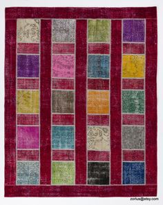 8' x 10' (245 x 305 cm) Multicolor Handmade Turkish Patchwork Rug, Red Background with Multicolor Squares by Zorlus on Etsy
