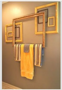 Towel Bar From Picture Frames...How Cool!