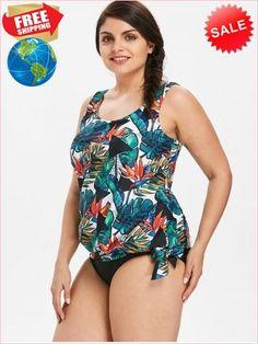 4478120105 Best Prices Plus Size Tropical Leaf Blouson Tankini Set 2257260  aziL2S38ZUOIBAbtgqWQ Cheap Sale  RoseGal.com