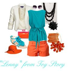 """Toy Story """"Lenny"""" Inspired I need those orange shorts! Cool Outfits, Summer Outfits, Brown Combat Boots, Orange Shorts, Disney Outfits, Fashion Colours, Style Me, Style Inspiration, Toy Story"""
