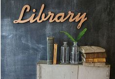 Love this home library sign! Library Signage, Library Cards, Books On Tape, Future Library, Love Signs, Time To Celebrate, Reading Nook, Inspired Homes, So Little Time