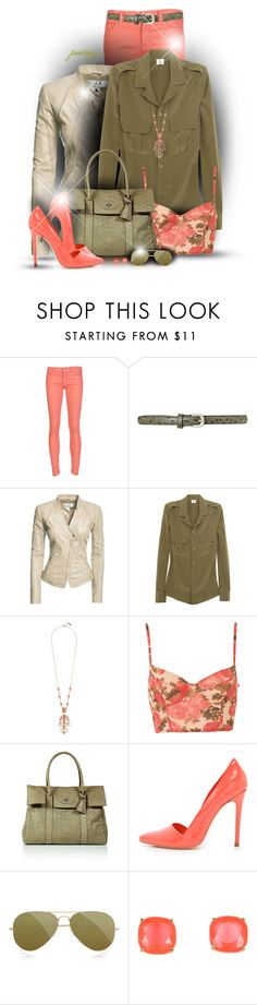 """""""Coral Floral"""" by rockreborn ❤ liked on Polyvore featuring Mother, Therapy, Danier, Iris & Ink, Roberto Cavalli, Mulberry, Alice + Olivia, Ray-Ban and Kate Spade"""