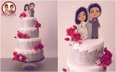 Wedding Cake Romantique Rouge - Un Jeu d'Enfant - Cake Design - Nantes - flat design wedding topper