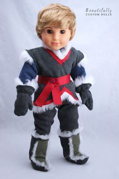 """Custom American Girl Doll BOY: Julie with blonde boy wig and """"Kristoff"""" Frozen inspired outfit. American Girl Halloween, American Girl Doll Costumes, Custom American Girl Dolls, American Girl Clothes, American Girls, Custom Dolls, Kristoff Frozen, Doll Fancy Dress, 18 Inch Boy Doll"""