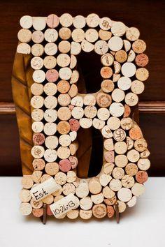 Wine cork monogram for wedding