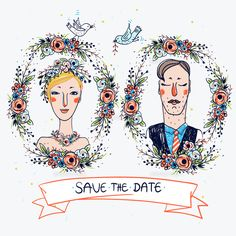 two vector portraits of a wedding couple with floral frames (c)Ingram Image