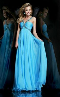 Blue Pleated Beaded Crisscross Straps Prom Dress Long