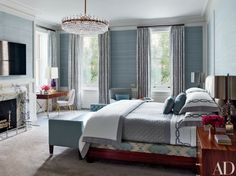 Serene Blue Rooms by AD100 Designers | Architectural Digest - STEVEN GAMBREL (=)