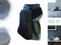 écharpe foulard gris noir modèle créateur unique