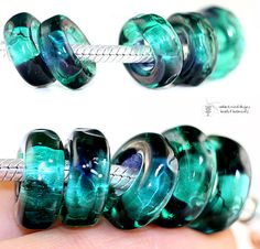 CHARM Beads TEAL PLUM Organic glass lampwork by radiantmind, $24.00