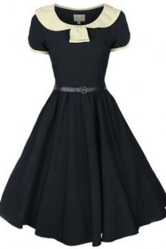 LINDY BOP 'ODETTE' CLASSY VINTAGE 1950s BLACK + CREAM COLLARED FLARED SWING PARTY EVENING DRESS