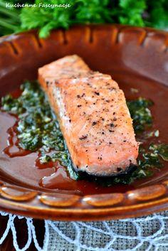 Łosoś z patelni z sosem maślano-cytrynowym. Pan fried salmon with butter-lemon sauce. Risotto, Pork, Fish, Meat, Kale Stir Fry, Pisces, Pork Chops