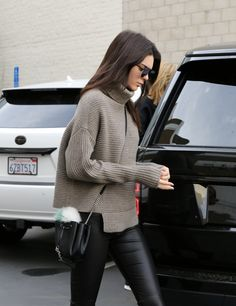 Knit and leather pants
