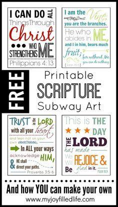 FREE Printable Scripture Subway Art - 4 FREE 8x10s