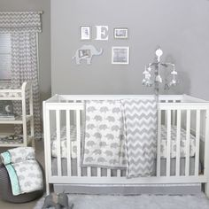 Surround your little one with adorable style and charm using the Elephant Crib Bedding Collection from The Peanutshell. Elephants and chevrons in white and soft grey, plus super-soft cotton sateen fabric, combine to create a fun nursery ensemble. Elephant Crib Bedding Set, Elephant Baby Rooms, Elephant Themed Nursery, Baby Boy Crib Bedding, Baby Cribs, Baby Bedding Sets, Comforter Sets, Baby Room Boy, Baby Bedroom