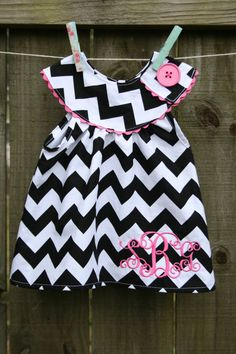 Chevron dress, boutique clothing, handmade, monogrammed dress or top
