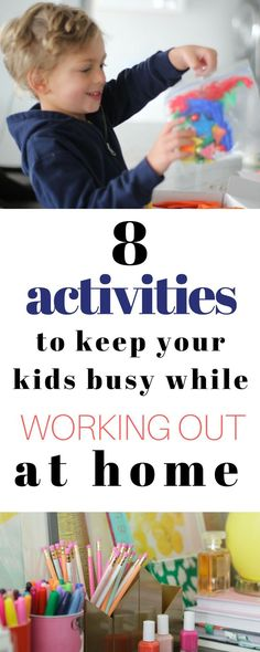 Keeping kids busy while you workout is so hard! I finally figured out some things that actually work to keep them entertained!