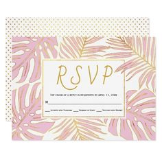 #Tropical monstera palm leaves pink wedding RSVP Card - #weddinginvitations #wedding #invitations #party #card #cards #invitation #beach