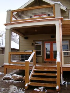 Trex decking will wrap around to deck on end of the building -looking over pond. Like this type of railing.  Deck Railing Ideas