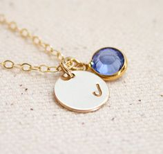 Gold Initial Disc Necklace Charm Initial by MiyulaStudio on Etsy