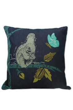 """These cushion covers create a charming, natural scene by combining silk screen with applique remnant fabric from our fair trade workshop in Bali, all on a background of pre-washed denim. It closes with covered buttons in the back. which match the printed piping. 100% cotton - hand or machine wash & dry, low temperature and gentle.    Dimensions: 18"""" x 18"""" (45 x 45 cm)   Denim Applique Squirrel Pillow by Zen Zen Garden Home . Home & Gifts - Home Decor - Pillows & Throws California"""