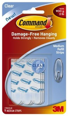Command Medium Refill Strips, Clear, 9-Strip, 6-Pack by Command. $15.60. Amazon.com                  3M Adhesive Technology Command products offer simple, damage-free hanging solutions for many projects in your home and office. Simplify decorating, organizing, and celebrating with an array of general and decorative hooks, picture and frame hangers, organization products, and more. Thanks to the innovative Command adhesive strips, you can mount and remount your Command produ...