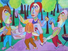 Schilderij Male bonding, in het bos mannenuitje, kunst aan de muur