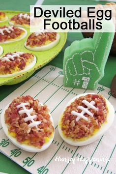 Deviled Egg Footballs Deviled Egg Footballs make a fun game day snack. Perfect for tailgating or homegating these bacon covered deviled eggs taste as great as they look. Healthy Superbowl Snacks, Game Day Snacks, Tailgating Recipes, Tailgate Food, Game Day Food, Superbowl Party Food Ideas, Football Recipes, Party Ideas, Super Bowl Party