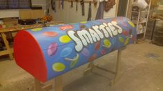 """""""Wow, what an incredible job our artisans at @TheCurveCoffin have done with this amazing Smarties tube Curve coffin!"""""""