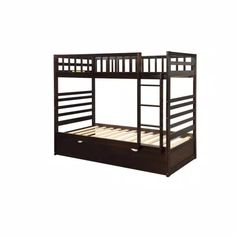 Harper & Bright Designs Espresso Twin Bunk Bed Over with Trundle Bed and End Ladder-SK000067AAP - The Home Depot Bunk Bed With Trundle, Cool Bunk Beds, Twin Bunk Beds, Solid Wood Bunk Beds, Headboard And Footboard, Bed Sizes, Dorm Rooms, Bed Frame, Espresso