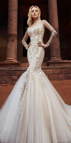 oksana mukha 2018 bridal long sleeves sweetheart neckline full embellishment tulle skirt glamorous mermaid wedding dress covered lace back royal train (armani) mv