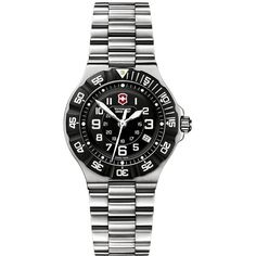 Wear this womens Victorinox Swiss army watch if you want to showcase your bold style. This stainless-steel watch features a black dial that stands out, making it easy for you to see the time with a single glance. It features accurate Swiss movement.