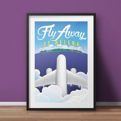Fly Away to St Helena Poster by BemmiesBazzar on Etsy
