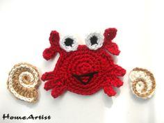 Krabbe Häkelapplikation häkel - Freie Farbwahl von Home Artist auf DaWanda.com