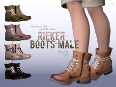 The Sims Resource: Rieker Boots Normal+HQ Compatible by Ms Blue • Sims 4 Downloads
