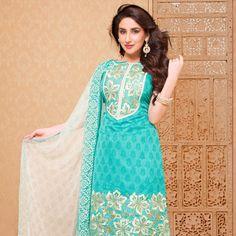 #Turquoise Chanderi #Silk Churidar Kameez