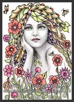 """Growing Things"", Fairy Tangles by Norma J Burnell, ACEO in size, micron pen, Prismacolor pencils & clear star glitter."