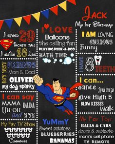 SUPERMAN 1st BIRTHDAY CHALKBOARD Poster  Customized by BGStudios, $20.00