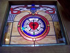 Luther's Seal/Rose Window. by rchrdcnnnghm, via Flickr Stained Glass Quilt, Stained Glass Panels, Stained Glass Patterns, Leaded Glass, Martin Luther Reformation, Luther Rose, Reformation Day, Church Humor, Bible Study Notebook