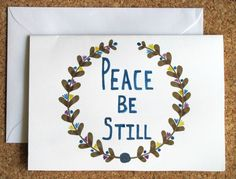 hand drawn peace be still greeting card by AmoryPapel on Etsy, $4.00
