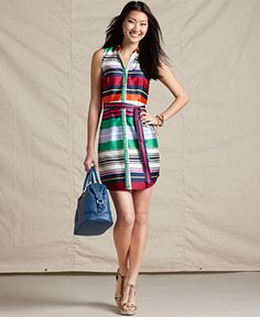 Tommy Hilfiger Dress, Sleeveless Striped V-Neck Belted Shirtdress