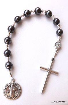 Men's+Pocket+Rosary+Hematite+black+beads+Men+or+by+AmyDavisArt,+$25.00