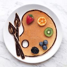Craft ideas with food on plates motivate you to live a healthier life - craft ideas painting art decoration idea Informations About Bastelideen mit Lebensmitteln auf Teller - Cute Food, Good Food, Yummy Food, Food Design, Kreative Desserts, Pancake Art, Food Art For Kids, Food Artists, Cute Desserts