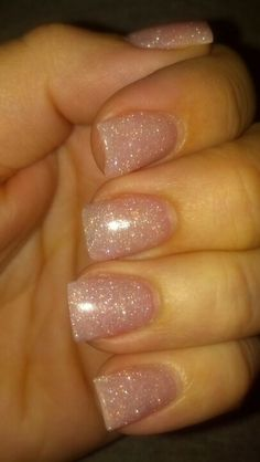 Pink glitter acrylic nails! LOVE! :) ~ what my nails look like every time I can't figure out what my designs will be #Default
