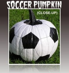 If you're bored with the traditional carved Jack o' Lantern face and want to add some fun to your Halloween this year, try these fun pumpkin decorating ideas. Soccer Banquet, Soccer Theme, Soccer Birthday, Soccer Party, Soccer Snacks, Soccer Decor, Holidays Halloween, Halloween Themes, Halloween Pumpkins