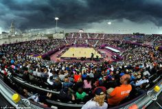 Overcast: Clouds gather over the beach volleyball which took place at Horse Guards Parade
