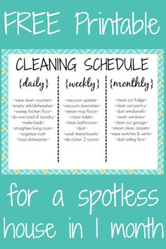 Do you need help with cleaning? Here's a daily cleaning schedule ...